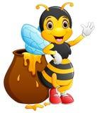 Cute bee cartoon waving Stock Image