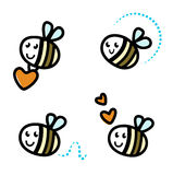 Cute bee characters with hearts. Funny Bee collection. Vector retro Illustration stock illustration