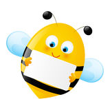 Cute bee with empty paper Royalty Free Stock Photography