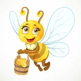 Cute bee flies with wooden bucket full of honey Stock Images