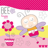 Cute bee with flower vector illustration Stock Photos