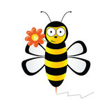 Cute bee with flower vector illustration Stock Images
