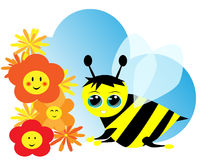 Cute bee and flowers Royalty Free Stock Photo