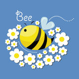 Cute bee and the flowers. Vector illustration of cute bee and the flowers, isolated on blue background, insect Stock Photos