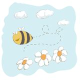 Cute bee flying around flowers Stock Images