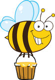 Cute Bee Flying With A Honey Bucket Royalty Free Stock Image
