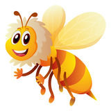 Cute bee flying on white background. Illustration stock illustration