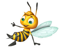 cute Bee funny cartoon character Stock Image