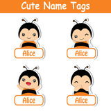 Cute bee girl  cartoon illustration suitable for kid name tags Royalty Free Stock Photo