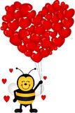 Cute Bee with Heart Shaped Balloons Stock Photo