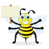 Cute bee holding wood sign Stock Image