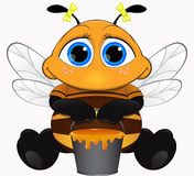 Cute bee with honey. Cute little bee sitting with a bucket of honey stock illustration