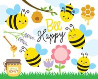 Cute Bee and Honey vector illustration