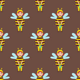 Cute bee kids wearing costume vector characters little people seamless pattern cheerful children holidays illustration. Cute bee kids wearing Christmas costumes stock illustration
