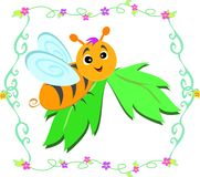 Cute Bee on a Leaf Stock Image