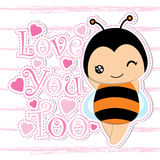 Cute bee and pink love on striped background vector cartoon suitable for Kid postcard. T-shirt background, and wallpaper Royalty Free Stock Photo