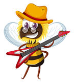 Cute bee playing electronic guitar Royalty Free Stock Image