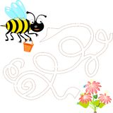 Cute bee with a pot of honey Stock Images