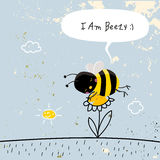 Cute bee sleeping, insect doodle Stock Images
