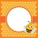 Cute bee. Vector illustration. Card with honeycomb and cute bee Stock Photography