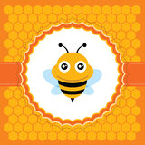 Cute bee. Vector illustration. Cute bee and honeycomb pattern. Vector illustration Stock Images