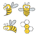 Cute bee vector set. Royalty Free Stock Photography