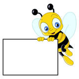 Cute Bee With Sign Royalty Free Stock Photo