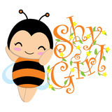Cute bee with yellow flowers cartoon suitable for Kid postcard stock illustration