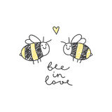 Cute bees couple. And handwritten text, bee in love vector illustration