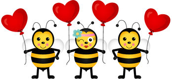 Cute bees with heart balloons Stock Images