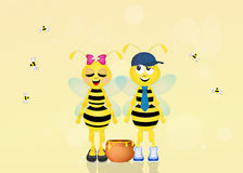 Cute bees with honey Royalty Free Stock Images