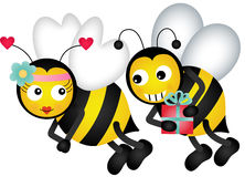 Cute bees in love Royalty Free Stock Images
