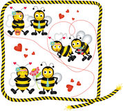 Cute bees in love of a digital collage Stock Photos