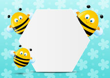 Cute bees with paper sheet Stock Images