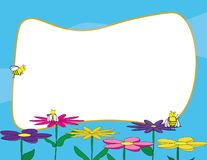 Vector spring template. Cute bees on colorful flowers with white background for text. Cute bees standing on colorful flowers with white background for text vector illustration