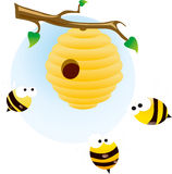 Cute bees. Stock image on the white backround vector illustration