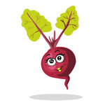 Cute beet character girl with leaves  on white. Cute unusual hand drawn beet with funny cartoon character of beet Stock Image