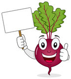 Cute Beet Character Holding Blank Banner stock photography