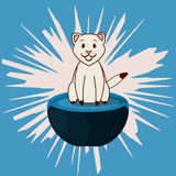 Cute beige cat sitting at the ottoman on blue background. Vector Illustration. Royalty Free Stock Photography