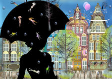 Cute belgian city, summer, colorful digital illustration, one dark woman silhouette with umbrella Royalty Free Stock Photo