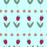 Cute bellflowers seamless pattern. Vintage blue background. Royalty Free Stock Photography