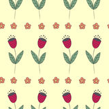Cute bellflowers seamless pattern. Vintage yellow background. Royalty Free Stock Photos