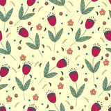 Cute bellflowers seamless pattern. Vintage yellow background. Royalty Free Stock Images