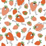 Cute berry characters and strawberries. Set of berries. Vector seamless pattern in hand drawn style. Fruit party collection for bright fruit fabric design stock illustration