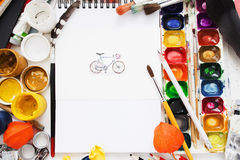Cute bicycle picture in colorful dye frame Stock Photography