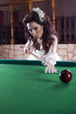 Cute Bide Playing Billiard Royalty Free Stock Photo