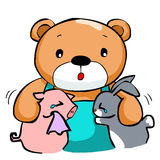 Cute big bear and best friend. Illustration Royalty Free Stock Image