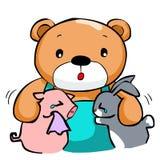 Cute big bear and best friend. Illustration vector illustration