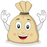 Cute Big Burlap Sack of Money Character. A cheerful cartoon big burlap sack full of money character smiling, isolated on white background. Eps file available Stock Image