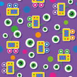 Cute big-eyed robots pattern Royalty Free Stock Images
